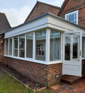 Hardwood Conservatory factory spray finished in Satin White