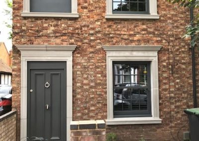 Box sash windows and bespoke front door