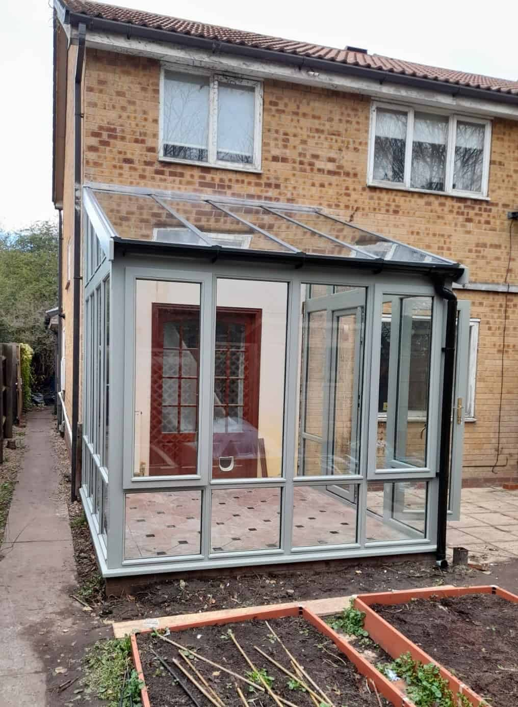replacement, hardwood, conservatory. Fully factory spray finished using Farrow and Ball 'Pigeon'