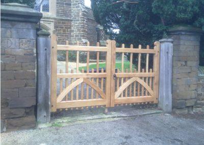 Replica Oak Church Gates in Silsoe, Bedfordshire